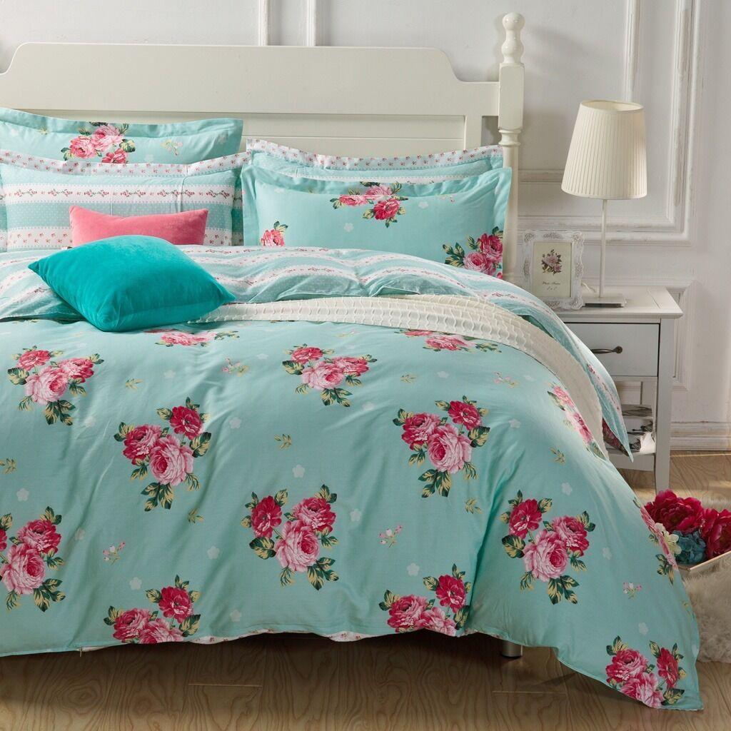 Summer Flowers Reversible Queen Größe Bed Doona Duvet Quilt Cover Set New