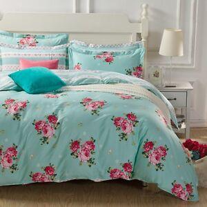 Summer-Flowers-Reversible-Queen-Size-Bed-Doona-Duvet-Quilt-Cover-Set-New