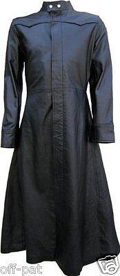 Black Leather Goth Long Coat / Steampunk Gothic Van Helsing Matrix Trench