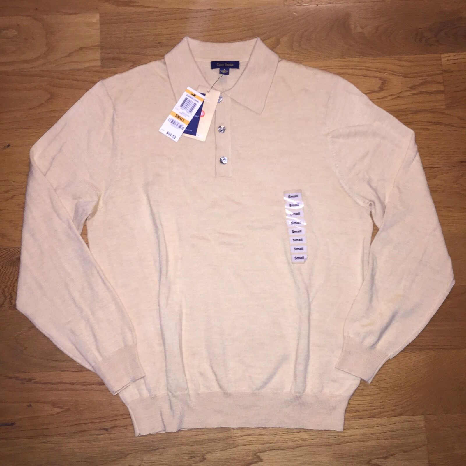 NEW  Herren CLUB ROOM POLO SWEATER SIZE S SMALL ITALY 100% FINE MERINO WOOL HONEY