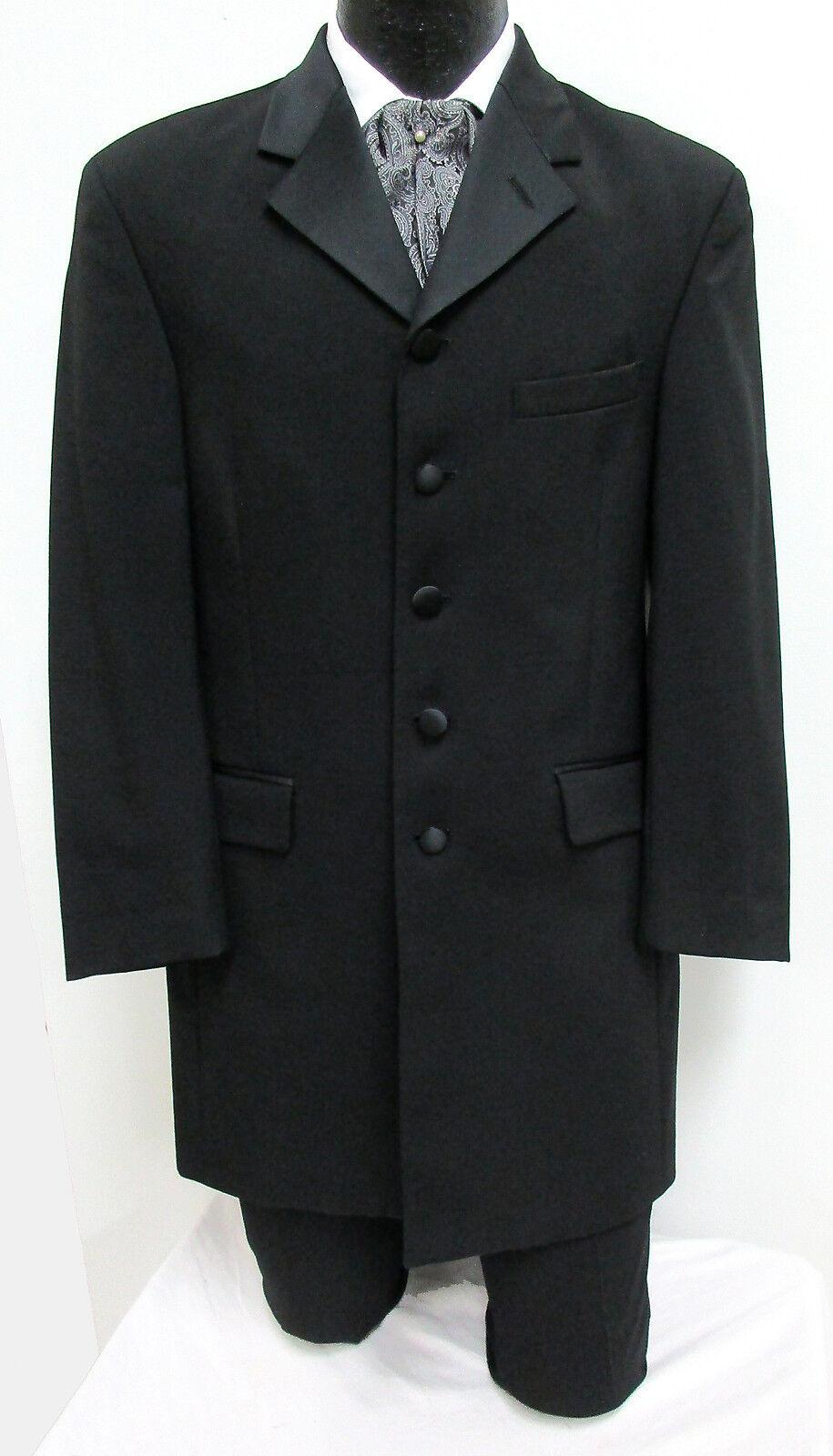 Men's Long Black Tuxedo Jacket Frock Coat Optional Pants Steampunk Victorian