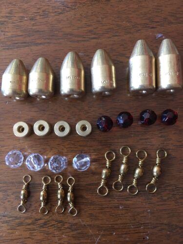Laiton Pêche Poids avec perles de verre et tickers Carolina Rig Kit 26 pièces