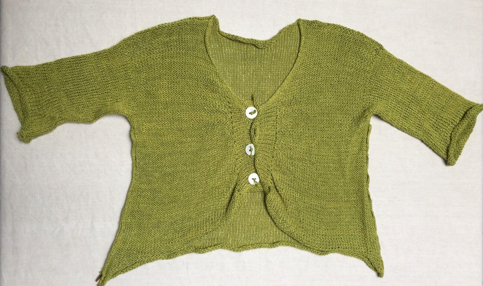 SKIF Cardigan Sweater in Chartreuse Chartreuse Chartreuse Greens Asymmetrical Hem Lagenlook OS 79edd5