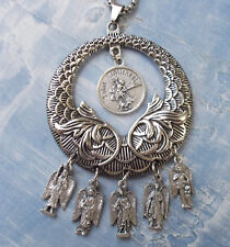 Round St  Gabriel The Archangel Medal With Prayer Card for