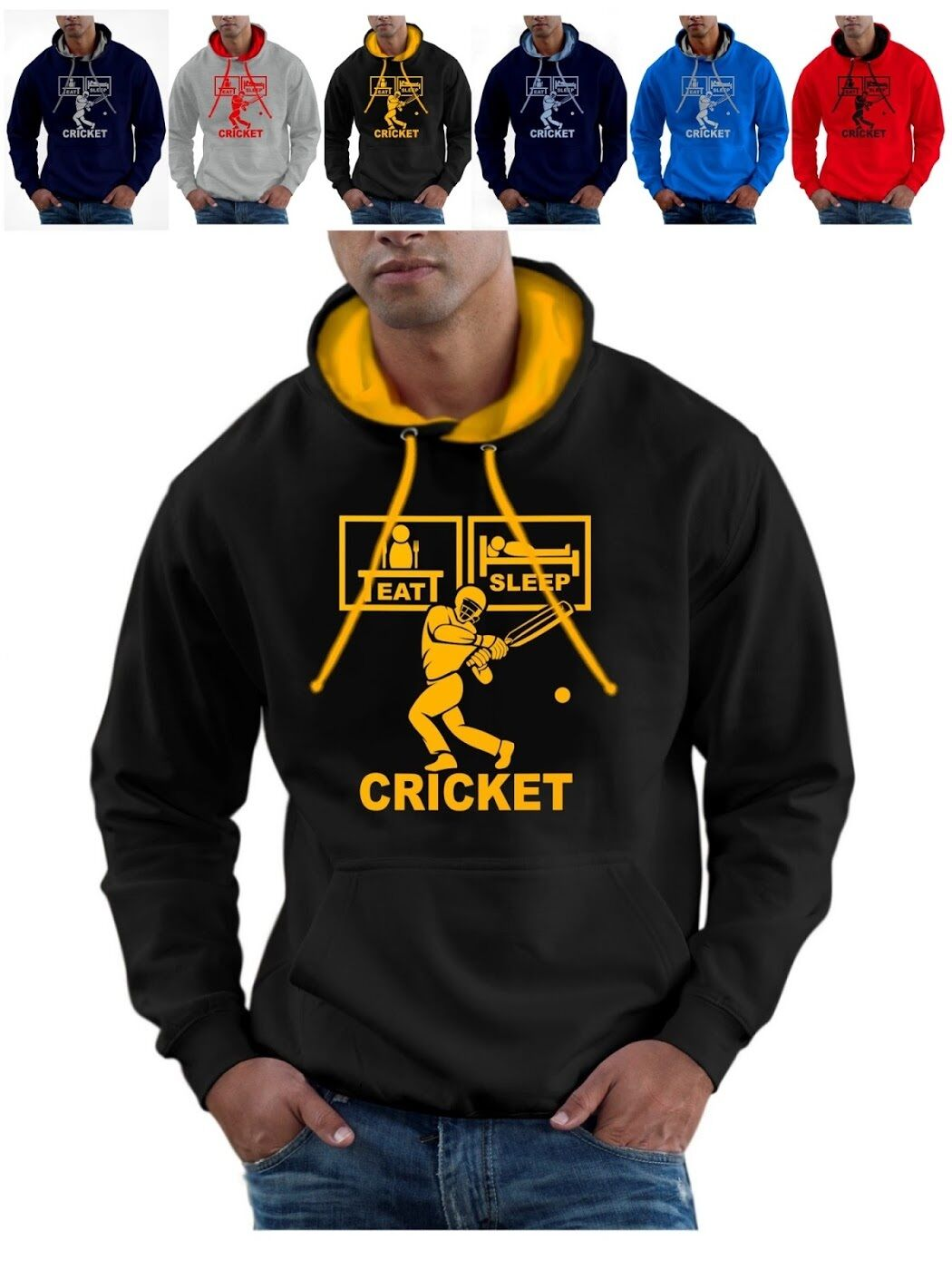 Eat Sleep Cricket Hoodie with Pads Helmet Gloves Bat plus Ball hoody pullover
