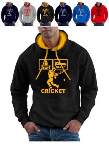 EAT Sleep Cricket Felpa Con Cappuccio Con Pastiglie Guanti Casco BAT PLUS BALL Felpa con Cappuccio Pullover