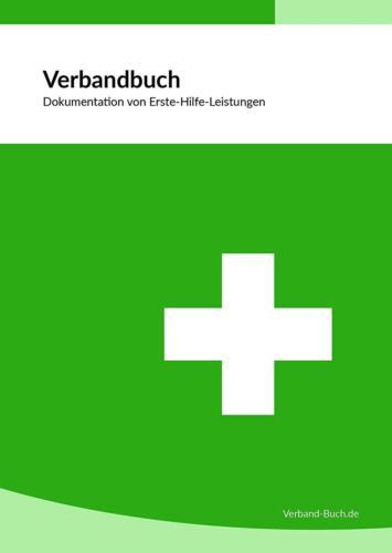 DIN A5 Verbandbuch Unfallbuch Stand 2019 doppelte Seitenanzahl GRÜN