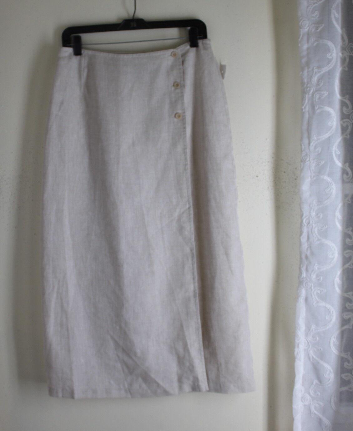 NEW Liz Claiborne -Sz 12 Rustic Lagenlook French Natural Linen Long Wrap Skirt