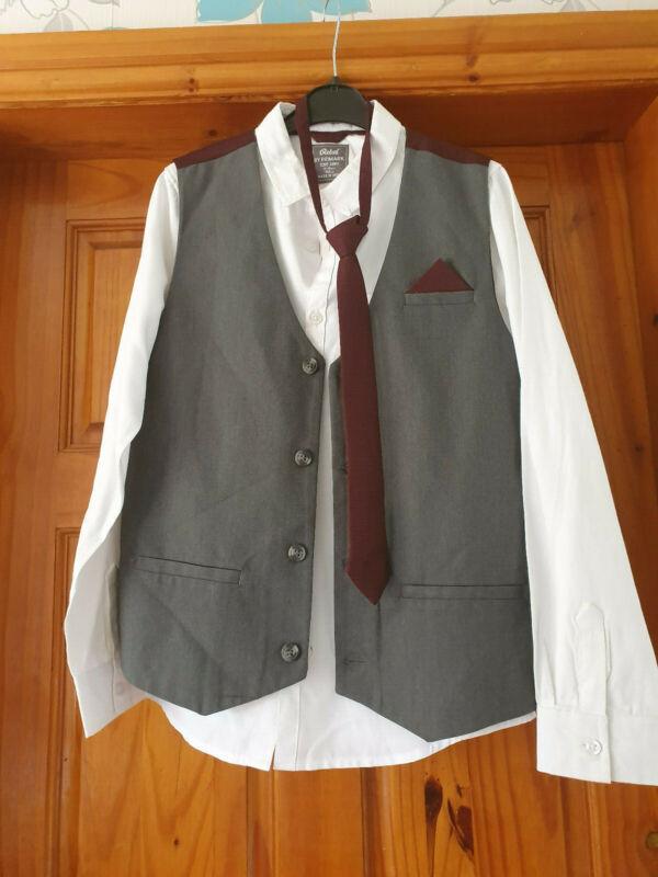* Debe Ver * 3 Piezas Conjunto Camisa, Corbata, Chaleco 11 - 12 Años De Edad