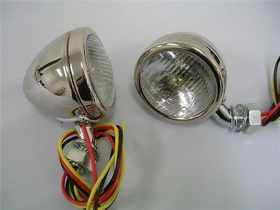1933 1934 Ford Car Deluxe Stainless Cowl Lamps Lights w/ Turn Signals Glass Lens