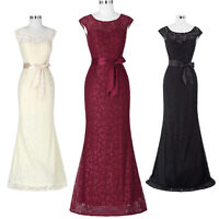 Women Formal Evening Party Cocktail Sexy Lace V Back Bridesmaid Long Prom Dress