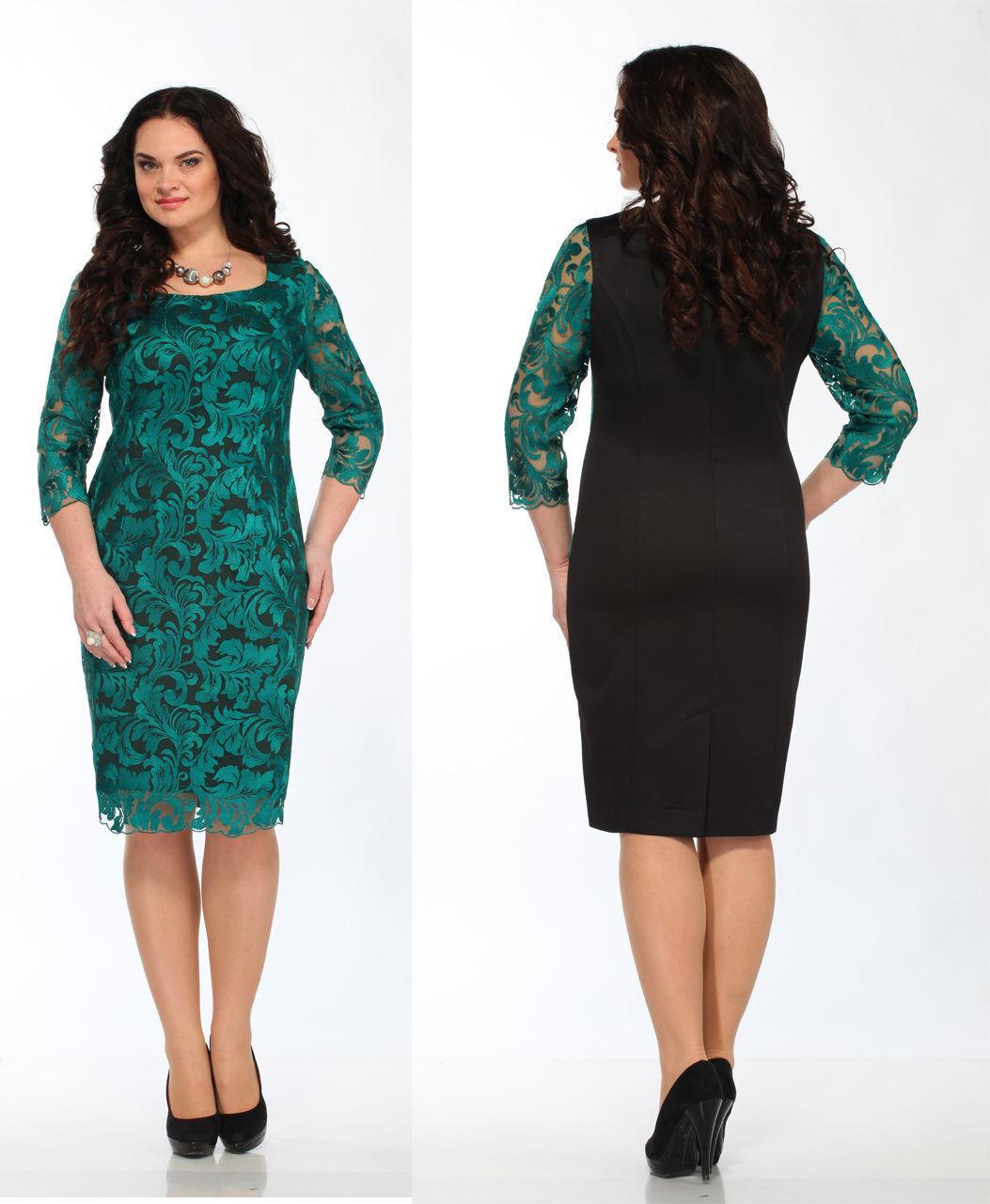 Abendkleid Big Größe Gr 48,50,52,54. Farbe Grün mit Schwarz