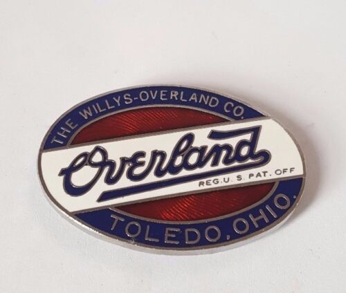 """Small Overland Authentic Oval Radiator Emblem 1-1//4/"""" Diameter Willys"""