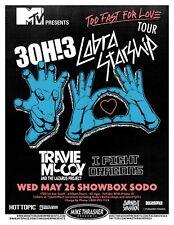 3OH!3 30H!3 And COBRA STARSHIP 2010 Gig POSTER Seattle Washington Concert