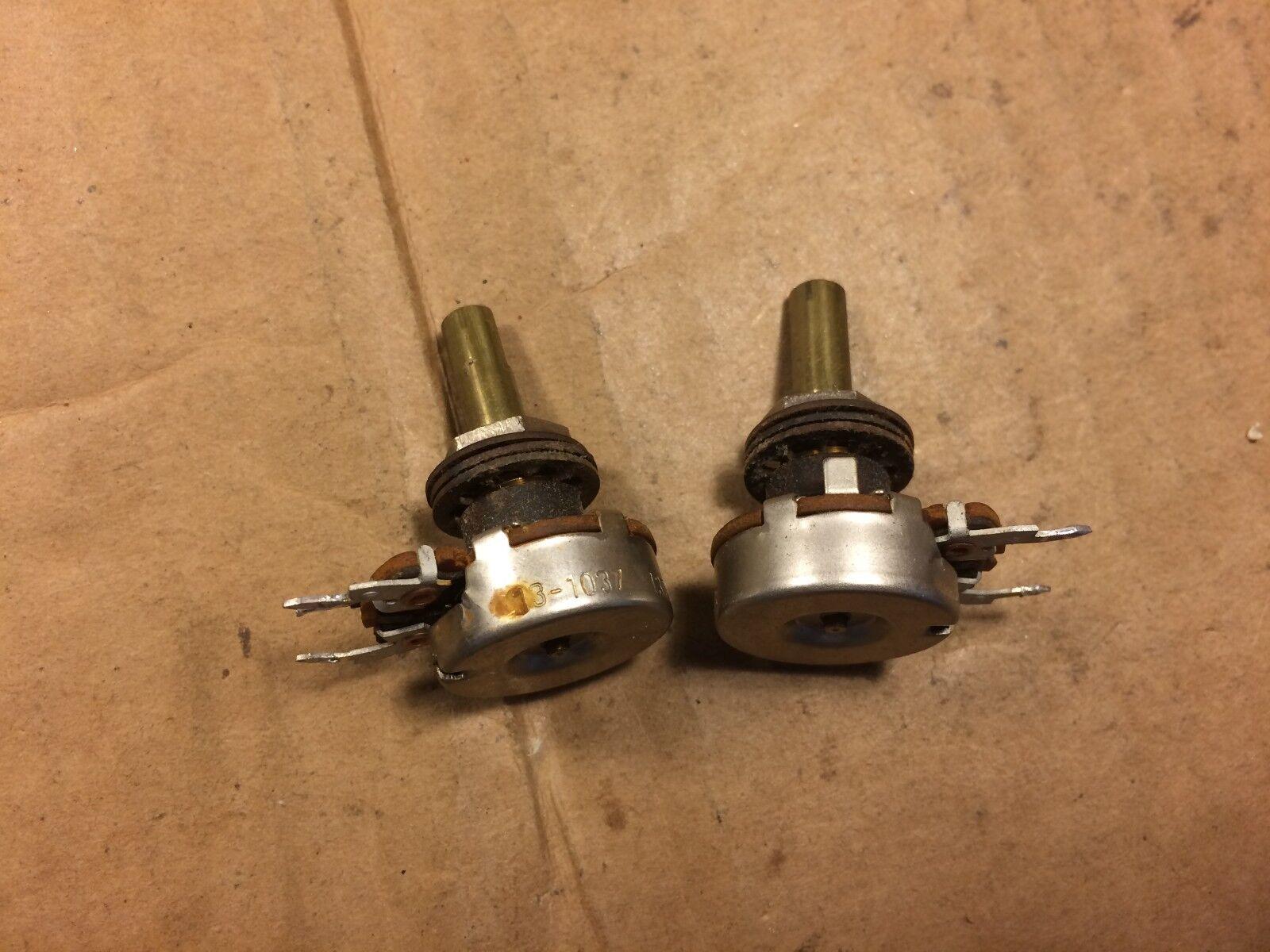 Pair of 1965 CTS 50k D Shaft Potentiometers Audio Taper Guitar Pots TEST GOOD