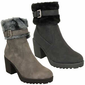 Ladies-Block-Heel-Chelsea-Ankle-Boots-Womens-Fur-Buckle-Warm-Casual-Winter-New