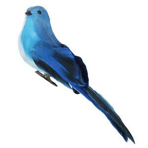2pcs Blue Artificial Feathered Foam Birds with Clips Outdoor Garden Tree Decor