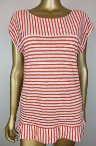 Seed Heritage Top Striped Red Shirt Blouse Tunic Top 100 Linen M