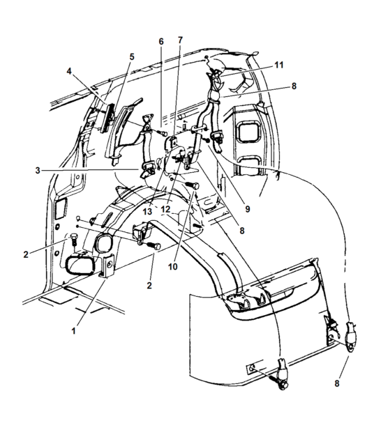 Chrysler Oem Rear Seat Belt Buckle Retractor Assembly Right Gk36sjk