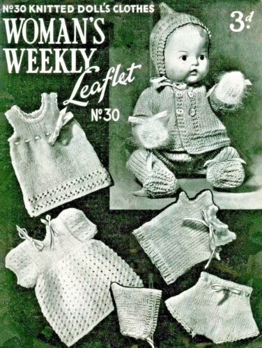 """/""""PDF COPY/""""  WW30   Dolls Clothes Knitting Pattern  Doll height 10 inches  3 ply"""