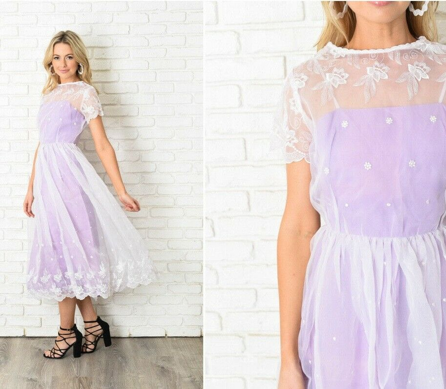 Vintage 70s Weiß + lila Dress Floral Lace Embroiderot Maxi Cocktail XXS