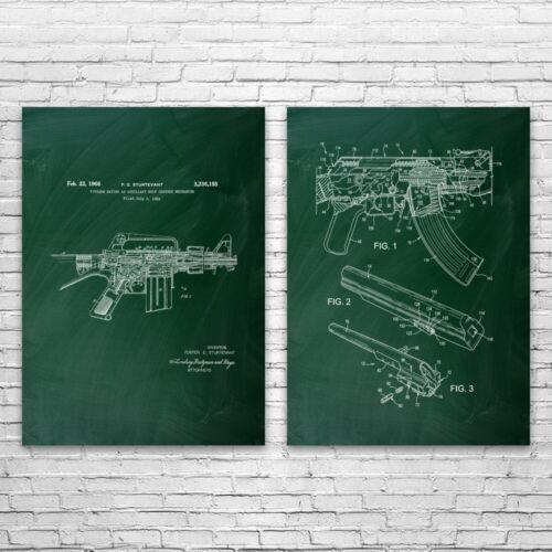 Details about  /Combat Rifle Patent Prints Set of 2 Gun Club Art AR-15 Blueprint Soldier Gift