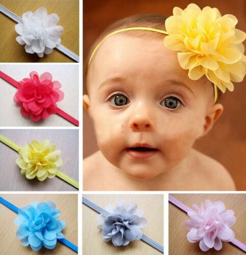10PCS Fille Bébé Toddler Infant Kid Fleur Bandeau en mousseline de soie Cheveux Bande Accessoires