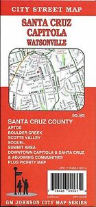 City Street Map of Santa Cruz Capitola Watsonville California by