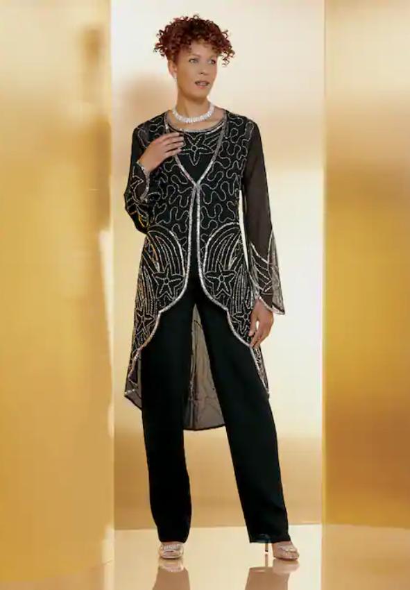 8 Ashro Formal Dress Wedding Dinner Party Yasia Black Silver Beaded Pant Suit