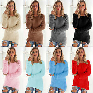 Womens-Long-Sleeve-V-Neck-Loose-Pullover-Sweater-Ladies-Casual-Jumper-Furry-Top