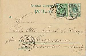 DT-REICH-PUTBUS-K1-5-Pf-blaugruen-Reichspost-Pra-GA-Postkarte-1894-RARITAT