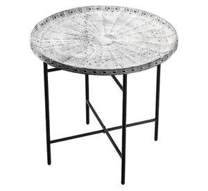 Design-Beistelltisch-Metall-grau-weiss-ornament-Tisch-Couchtisch-Sofatisch