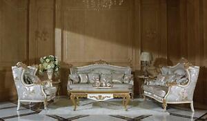 Sofagarnitur-Canape-Rembourrage-Siege-Accessoires-Baroque-Rokoko-3-2-1-Tissu