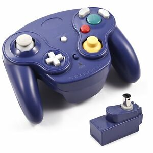 BLUE-Wireless-Gamecube-Controller-Wavebird-Style-w-Adapter-for-Nintendo-NGC-GC