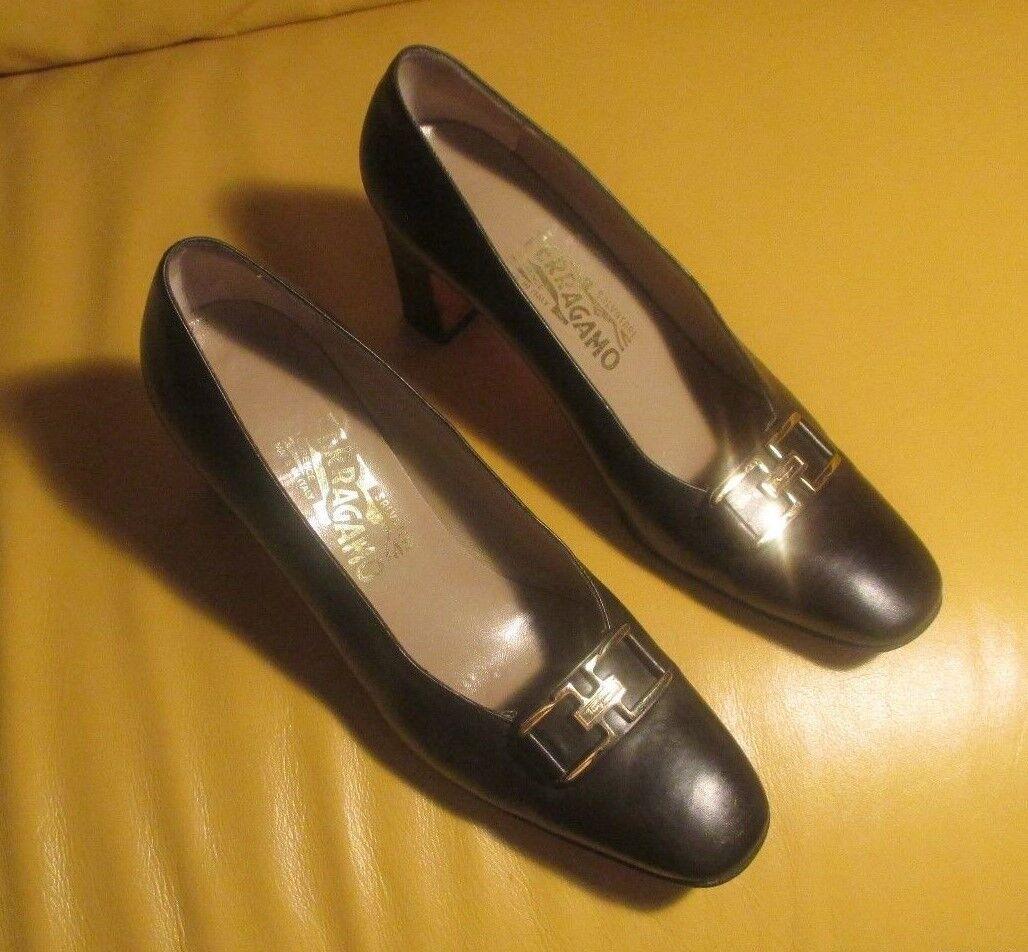 Salvatore Ferragamo Clásico Negro de cuero para mujer mujer mujer zapatos talla 9 b  muy bonito  comprar descuentos