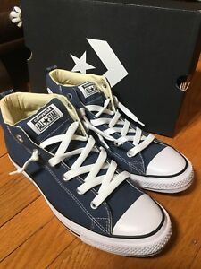 d0ff60d9496a54 CONVERSE All Star Chuck Taylor Street Padded Mid Navy Blue White Men ...