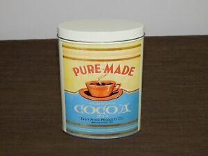 VINTAGE-KITCHEN-6-034-HIGH-PURE-MADE-COCOA-MIX-BROWNWOOD-TEX-TIN-CAN-EMPTY