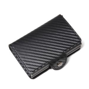 Leather-Credit-Card-Holder-RFID-Blocking-Pop-up-Wallet-Money-Clip-14-card-CARBON