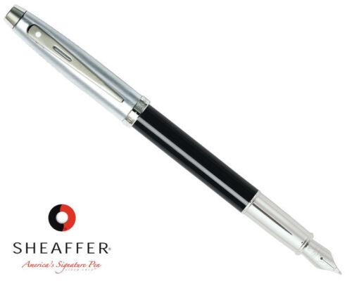 Sheaffer 100 Gloss Black Fountain Pen Brushed Chrome Cap Medium Nib /& Converter