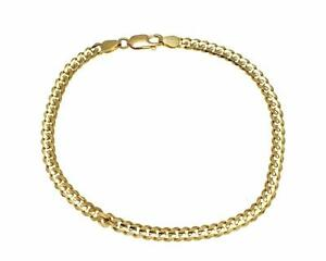 SOLID-14K-YELLOW-GOLD-MADE-IN-ITALY-CUBAN-CURB-LINK-BRACELET-8-INCH-4MM