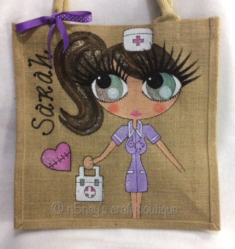 Bag Hand Celebrity Nurse Jute Style Personalised Handpainted Handbag Gift fzOqxpPB