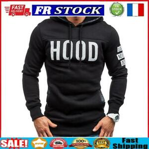 Men Teenager Boy Long-Sleeves Letters Print Hoodie Sweatershirt (Black 2XL)
