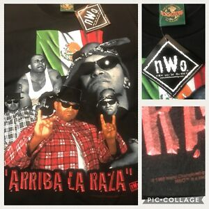 Konnan-NWO-Arriba-La-Raza-WCW-Mexican-Wrestler-Black-T-Shirt-L-42-034-Vtg-1998-nwt
