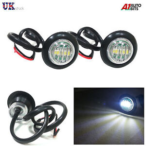 2-x-LED-White-Round-Front-Side-Marker-Lights-Lamps-12V-For-Truck-Trailer-Lorry