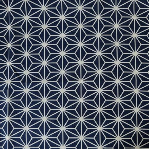 Japanese Cotton Fabric Asanoha Large Navy 48x55cm Fat Quarter Cut Piece