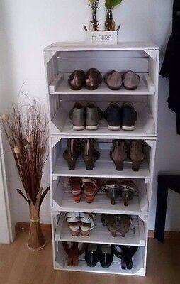 2er Set weiße Holzkiste/Regalkiste für Schuh-und Bücherregal längs 50x40x30cm