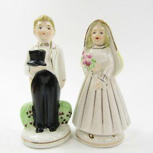 Vtg-Nikoniko-Japan-Bride-Groom-Young-Old-Couple-Turnabout-Salt-Pepper-Shakers