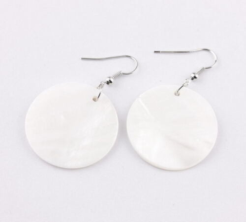 2019 New Fashion Big Round Disque Blanc Coquille Goutte Boucle d/'Oreille pour Femmes Party Jewelry