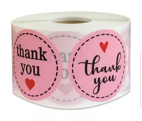 40x Rosa Redondo 2 proyectos de bricolaje Pegatinas Etiquetas de agradecimiento fiesta cajas Envolvente UK