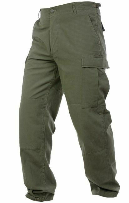 Mil-Tec Mens RIPSTOP Army Vintage BDU CARGO PANTS Field Trousers Olive OD Green